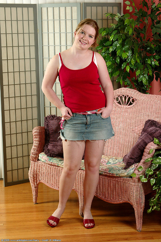 Chubby hairy amateur takes off skirt and panty on the armchair